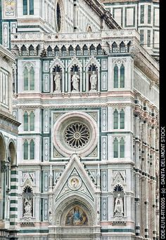Beautiful colors of the Duomo, Florence. The cream and shades of blue green and even the black accent in the window would be the perfect beach house palette for me!