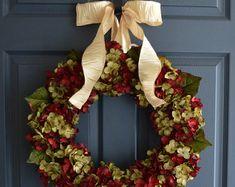 Hand Blended Hydrangea Wreath Front Door By HomeHearthGarden