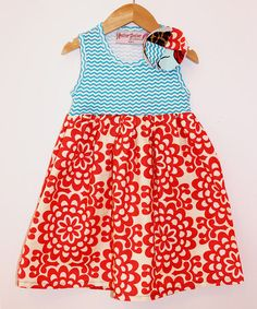Look what I found on #zulily! Red & Blue Floral Zigzag Tank Dress - Toddler & Girls #zulilyfinds