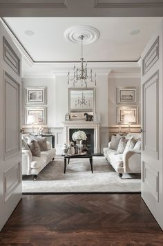 Love this! Clean white, elegant look with antique parquet flooring - Classic!