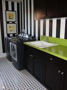 laundry room, love the bold colors!