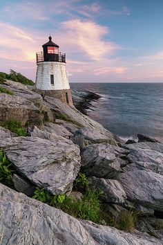 Castle Hill Light at Sunset, Newport, Rhode Island - Dawna Moore Photography Castle Hill Lighthouse, Newport Rhode Island, Arts And Crafts House, Seascape Paintings, Beach Scenes, Travel Pictures, Sunrise, Scenery, Landscape