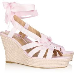 Oscar de la Renta Teresa grosgrain wedge sandals (280 AUD) ❤ liked on Polyvore featuring shoes, sandals, pink, bow tie sandals, pink wedge sandals, platform wedge shoes, ankle strap platform sandals and pink platform sandals