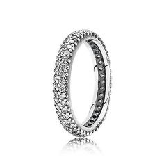 Add some sparkle to your finger with this PANDORA sterling silver ring with pavé-set cubic zirconia. #PANDORAring
