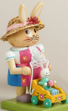 Easter Bunny Nutcracker Handcrafted Wooden Decoration Figure Easter Rabbit