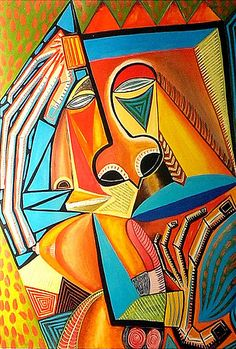 African Artwork #orange #green #yellow #blue #intricatedetails #history #culture #powerful #africanartwork #art #strong African Artwork, African Paintings, Cubism Fashion, Western World, Gcse Art, Arts Ed, African Culture, Sculpture, Oeuvre D'art