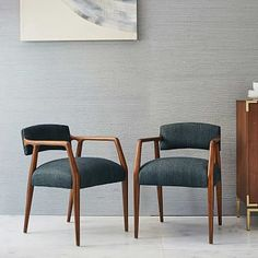 Landon Upholstered Dining Chair #westelm $399 - a great midcentury look and I even love the color for you...
