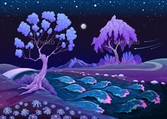 Astral Landscape with Trees and River in the Night by ddraw Astral Landscape with Trees and River in the Night. Vector illustration