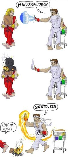 Street Fighter funnies and game art cartoons. How-Do-You-Do-Ken
