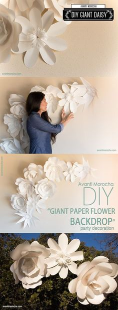 """DIY """" Giant Paper Flower Backdrop"""" paper decor and flowers , paper backdrops with video tutorials! The best inclusive diy wedding planning information, inspiration . Diy Paper, Paper Art, Paper Crafts, Diy Crafts, Paper Book, Diy Décoration, Decor Crafts, Giant Paper Flowers, Diy Flowers"""