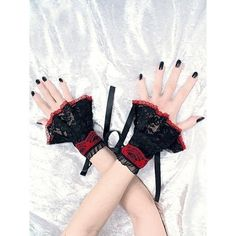 black and red  bracelets cuffs wristbands lace by FashionForWomen
