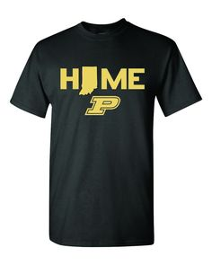 """Purdue University fans, alumni, students...this is the shirt for you. Not only are you letting you know that Indiana is your """"HOME"""" but that your home team is the good 'ol Boilermakers Featured on a b"""