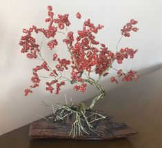 Beaded Wire Bonsai: Cherry Bonsai by SilverBonsaiRoots on Etsy Cherry Bonsai, Red Cherry Blossom, Wire Tree Sculpture, Wire Art, Seed Beads, Glass Beads, Handmade Items, Etsy, Beaded Jewelry