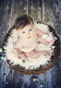 Easter Photos don't have to be complicated. A branch with some eggs hanging from it provides the perfect backdrop! Easter Pictures, Holiday Pictures, Baby Pictures, Holiday Photography, Spring Photography, Toddler Photos, Baby Girl Photos, Children Photography, Newborn Photography
