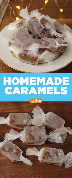 Gift Salted Caramels and be forever loved. Caramel Recipes, Candy Recipes, Holiday Recipes, Dessert Recipes, Homemade Candies, Homemade Caramels, Salted Caramels, Holiday Baking, Christmas Baking
