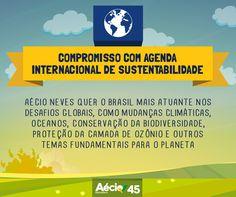 Agenda de sustentabilidade: Em 2015 serão feitos novos tratados para garantir a sustentabilidade do planeta. Aécio Neves vai se posicionar de forma mais firme sobre esses temas e enfrentar os desafios globais para preservação.