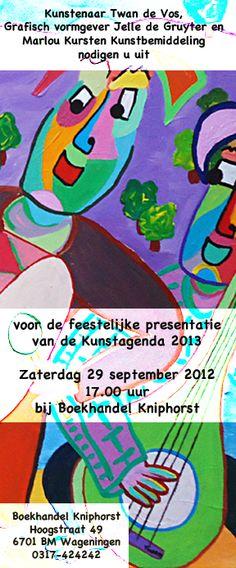 Uitnodiging voor de presentatie van de Kunstagenda 2013.  Invitation for the presentation of the Art Calendar 2013.