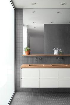 square tile, floating vanity, wood