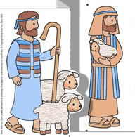 Christmas Shepherd craft of shepherds with sheep. Prayer Crafts, Jesus Crafts, Bible Story Crafts, Bible Crafts For Kids, Preschool Crafts, Bible Stories, 3d Christmas, Childrens Christmas, Preschool Christmas
