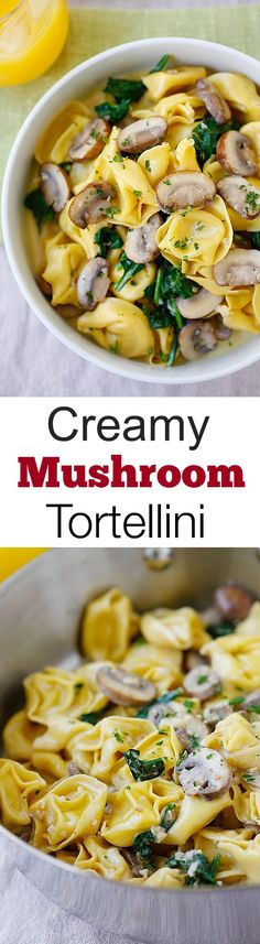 Creamy Mushroom Tortellini - the creamiest and most delicious tortellini recipe with rich buttery mushroom sauce. Quick, easy and budget-friendly! Italian Recipes, Great Recipes, Favorite Recipes, Simple Recipes, Pasta Recipes, Dinner Recipes, Cooking Recipes, Easy Delicious Recipes, Yummy Food