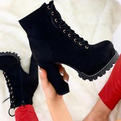 Boots are truly trendy and there is broad option from flat-heels to stilettos, wedges, and platforms, boots are everything in between. Goth Shoes, Cute Shoes Heels, Swag Shoes, Funky Shoes, Pretty Shoes, Me Too Shoes, Fashion Heels, Fashion Boots, Sneakers Fashion