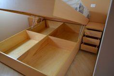 Cama Box de Casal em Marfim Diy Storage Headboard, Bed Frame With Storage, Bed Storage, Modular Furniture, Bed Furniture, Furniture Design, Bed Frame Design, Bed Design, Home Garden Design