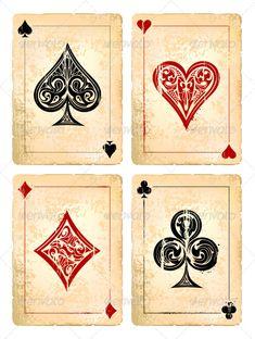 Grunge Poker Cards Vector Set