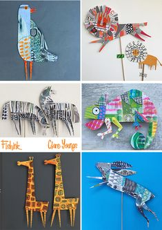 Clare Youngs (kinda like Eric Carle. Art For Kids, Crafts For Kids, Arts And Crafts, Paper Art, Paper Crafts, Paper Animals, Ideias Diy, Cardboard Art, Middle School Art
