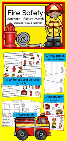 Fire Safety Sentence Picture Match Reading Center kindergarten, first and second