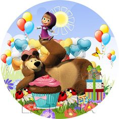 Marsha And The Bear, Diy And Crafts, Crafts For Kids, Bear Party, Bottle Cap Images, Ideas Para Fiestas, Digital Art Girl, Painting For Kids, Baby Birthday