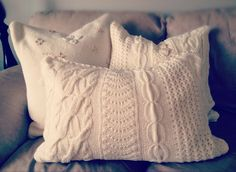 Knit pillows made from D.I. sweaters