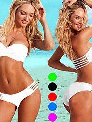 Women's Push-up Solid Bandeau Bikinis Multi-color... – USD $ 12.99