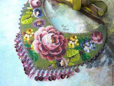 Купить Зеленый платок - зеленый, ольга орлова, колье с цветами, цветы, зеленое колье