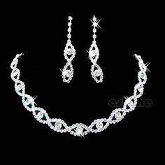 Wedding Bridal Jewelry Clear Crystal Diamante Twisted Necklace Drop Earrings Set #Unbranded