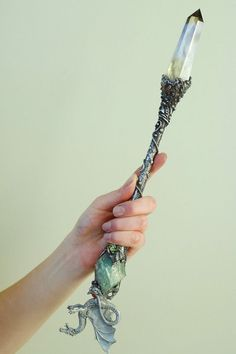 Silver solder °Magic Wand with Dragon & gemstones by Witch Wand, Wizard Wand, Fairy Wands, Witch Aesthetic, Fantasy Weapons, Book Of Shadows, Witchcraft, Crystal Healing, Gemstones