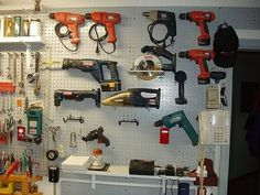 Organize Large Power Tools in the Garage.