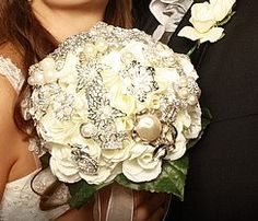 Brooch Bouquet :  wedding bouquet brooch diy ivory silver white Boquet At Wedding
