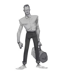 Rough sketch of a guy with a bag! #drawing #digital #art #illustration #sketch #character #grecke