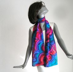 Multicolor Scarf Hand Painted Silk Hand Dyed Scarf by artinsilk
