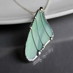 Green Butterfly Wing Necklace,  Stained Glass Jewelry by LAGlass, $26.00
