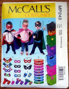 NEW McCall Pattern 6626 (3 -12yrs) Super Hero Cape, Belt, Cuffs and Masks, Halloween Costume for Toddler, Child -Boy & Girl- Super Man, DIY