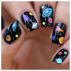 Galaxy Nails Try a manicure that's out of this world, with a galaxy inspired nail art. We've gathered some of our absolute favorite galaxy nail designs for you. Nail Art Kawaii, Cute Nail Art, Cute Nails, Pretty Nails, Nagel Piercing, Planet Nails, Galaxy Nail Art, Nagel Hacks, Space Nails
