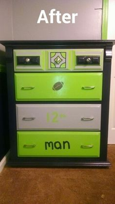 I took my sons old drawers, sanded them down and then painted them in official Seahawk paint to go with his new Seahawk bedroom.