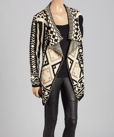 Another great find on #zulily! Navy & Brown Geometric Open Cardigan by Banana U.S.A. #zulilyfinds