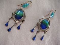 RARE CHARLES HORNER SILVER & ENAMEL ART NOUVEAU DROP EARRINGS WITH GOLD WIRES