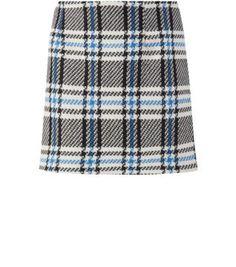 Blue Black and White Check A-Line Mini Skirt