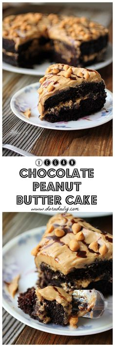 Chocolate Peanut Butter Cake – Dora's Daily Dish – cake – Nutella Chocolate Peanuts, Vegan Chocolate, Chocolate Peanut Butter, Baking Chocolate, Vegan Desserts, Just Desserts, Delicious Desserts, Vegan Treats, Sweet Recipes