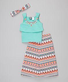 Look what I found on #zulily! Mint & Orange Geometric Britt Maxi Skirt Set - Girls #zulilyfinds