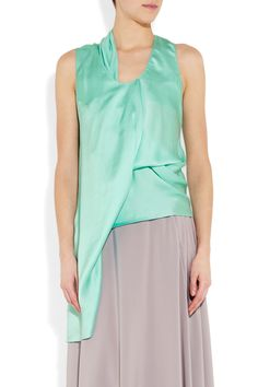 Chalayan  Draped asymmetric silk-satin top  $855.  Not *quite* so dramatic.