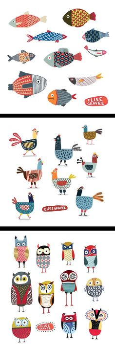 可愛い。 色合いとデザインが好き Elise Gravel illustration • fish • hens • chickens • owls • birds • drawing • cute • fun • art • animals • pattern • colorful